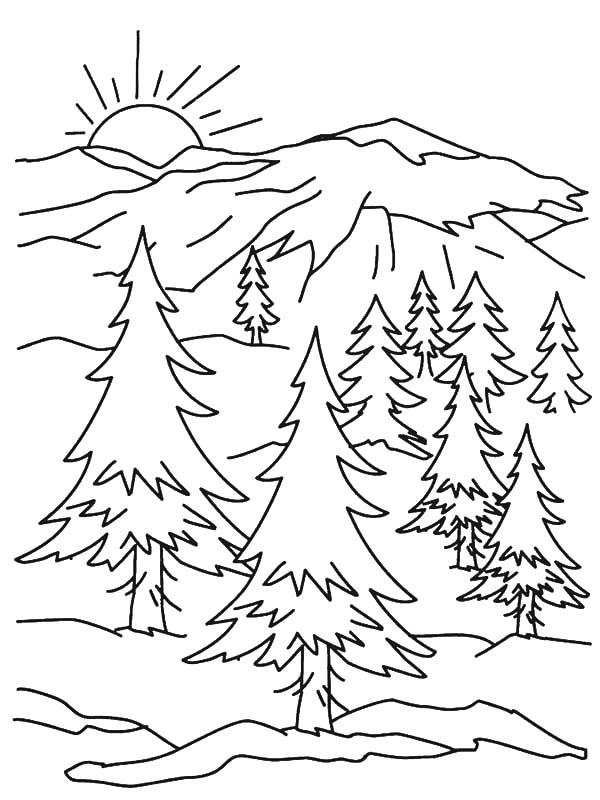 Holidays, : Holidays to Snowy Mountain Sunrise View Coloring Pages