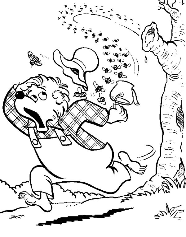Honey Bear Try To Escape From Mad Bees Coloring Pages ...