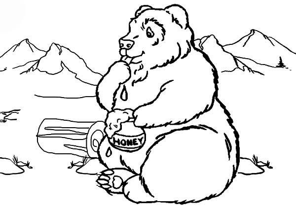 Honey Bear With Mountain View Coloring Pages Coloring Sky
