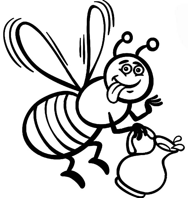 Honey Bee, : honey bee cartoon for coloring book