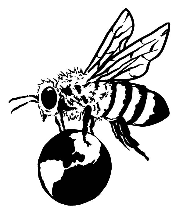 Honey Bee, : Honey Bee Holding Globe Coloring Pages