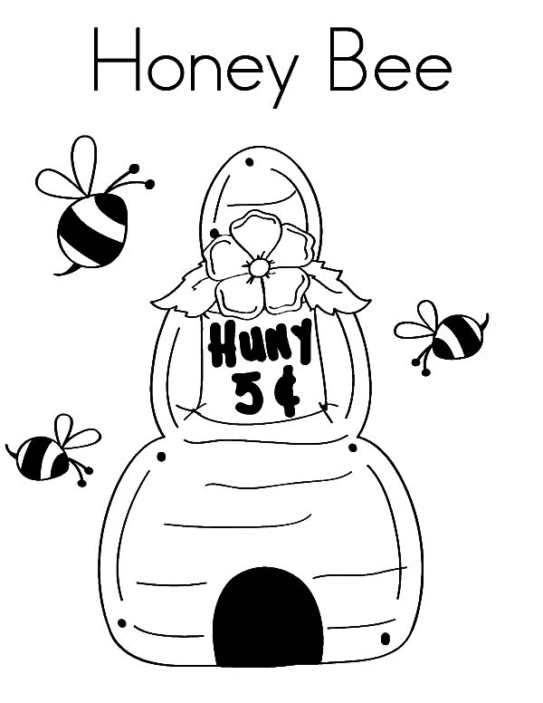 Honey Bee, : Honey Bee House Coloring Pages