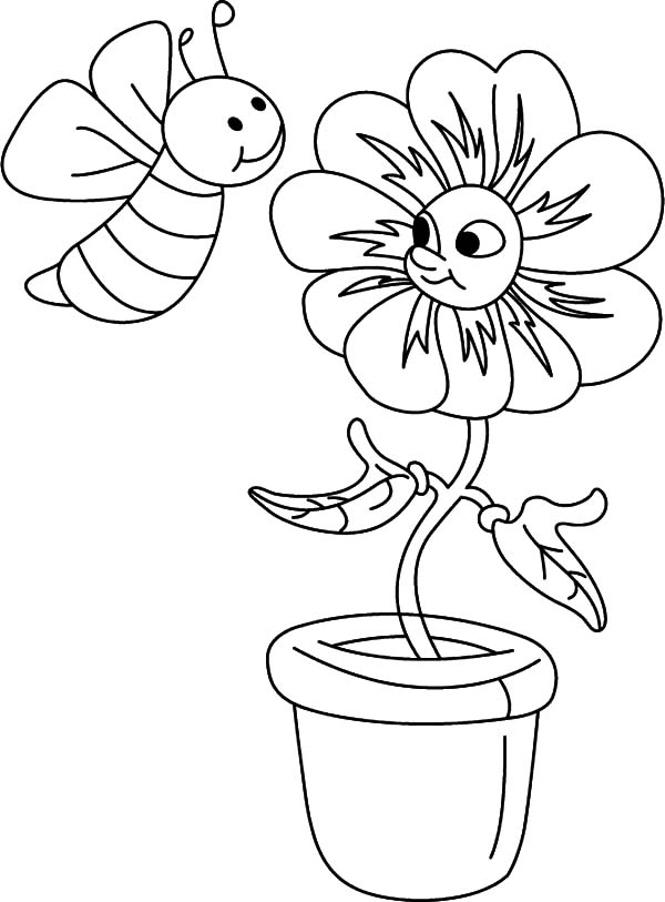 Honey Bee, : Honey Bee Talking to a Flower Coloring Pages