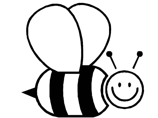Honey Bee, : Honey Bee Wide Smile Coloring Pages