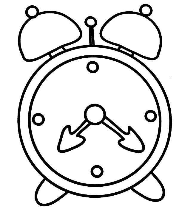 Cartoon Alarm Clock Coloring Pages