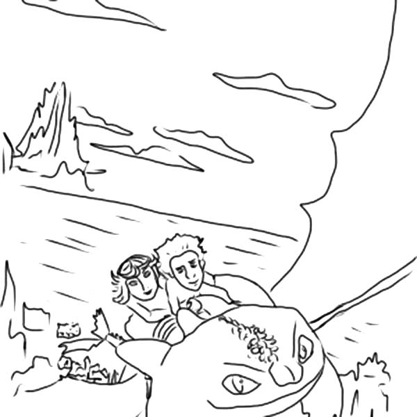 How To Train Your Dragon, : How to Train Your Dragon Astrid and Hiccup Flying Over Berg Coloring Pages