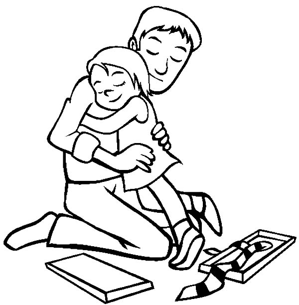 Hug Me Daddy I Love Dad Coloring Pages : Coloring Sky