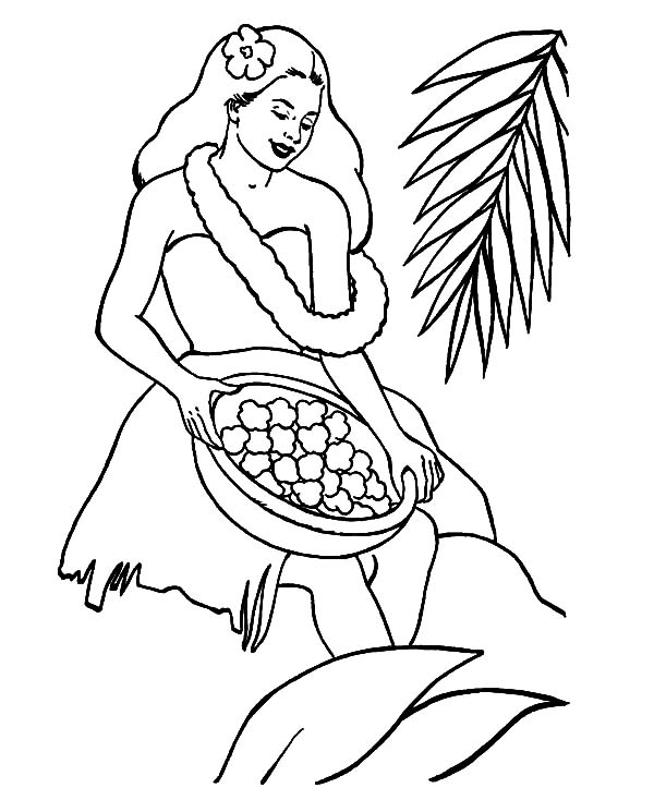 Hula Girl, : Hula Girl Collecting Flower Coloring Pages