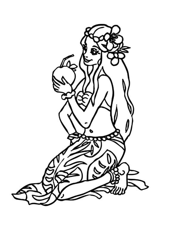 Hula Girl, : Hula Girl Drink Fresh Coconut Water Coloring Pages