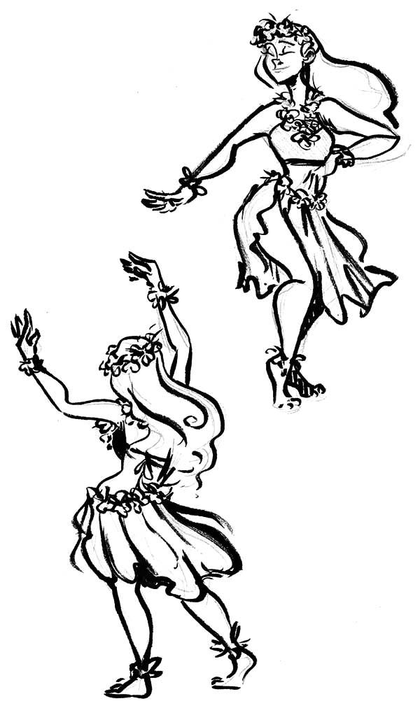 Hula Girl, : Hula Girl Dynamic Duo Coloring Pages