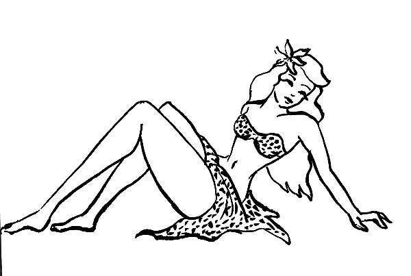 Hula Girl, : Hula Girl Lay Down Coloring Pages