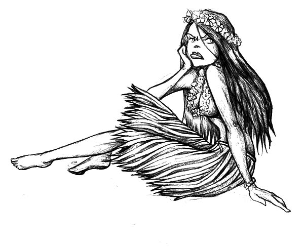 Hula Girl, : Hula Girl Looks Upset Coloring Pages
