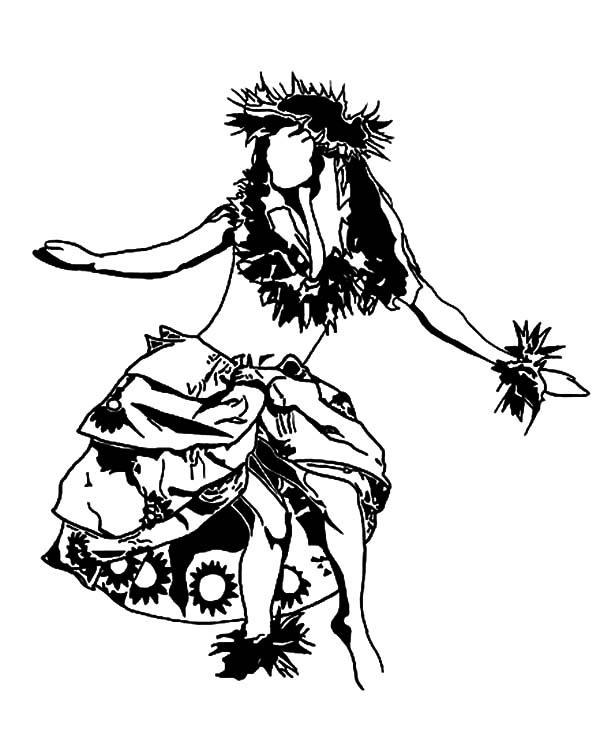 Hula Girl, : Hula Girl Performing Hawaiian Dance Coloring Pages