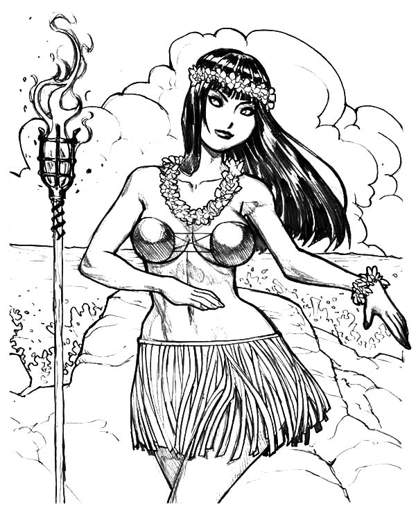 Hula Girl, : Hula Girl Welcome Dance Coloring Pages
