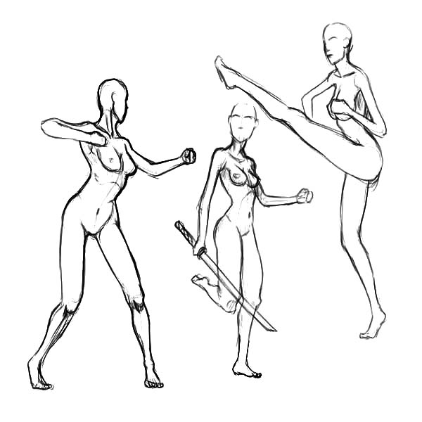Human Body, : Human Body Motion Sketch Coloring Pages