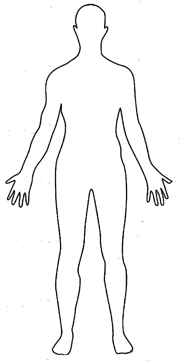 Human Body, : Human Body Outline Drawing Coloring Pages