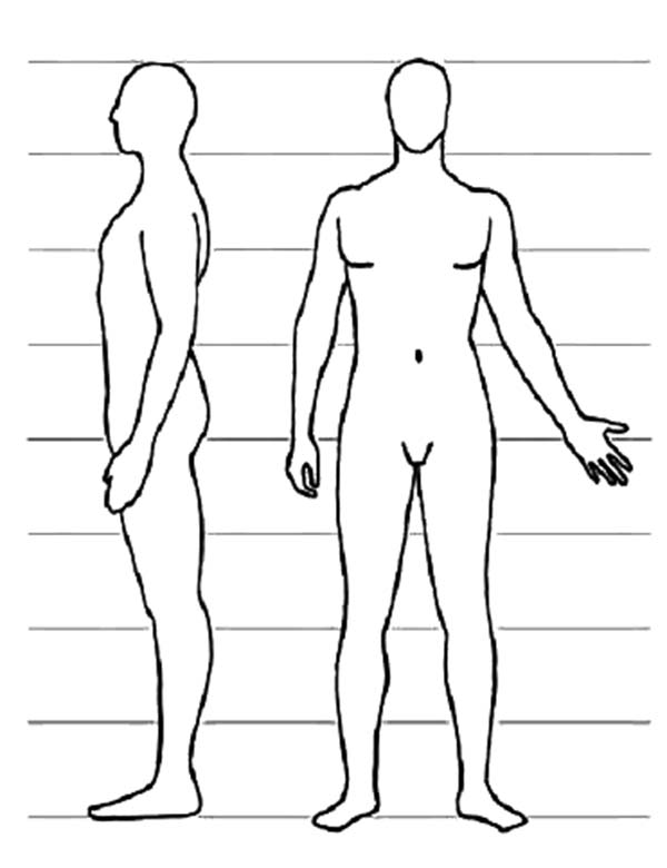 Human Body, : Human Body Side View Coloring Pages