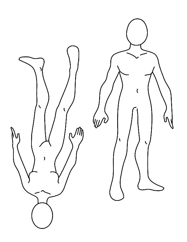 Human Body, : Human Body Template Coloring Pages