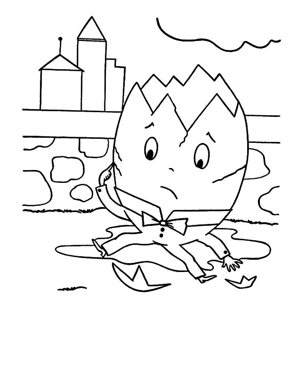 Humpty Dumpty, : Humpty Dumpty Head Cracked Open Coloring Pages