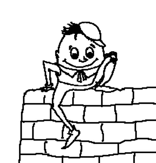 Humpty Dumpty, : Humpty Dumpty Hopping on the Wall Coloring Pages