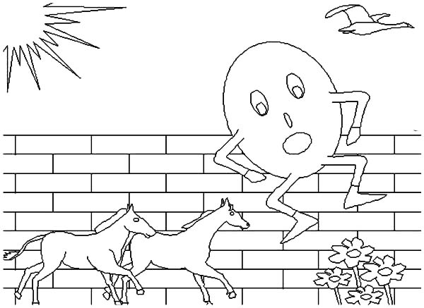 Humpty Dumpty, : Humpty Dumpty Jump Over Two Horses Coloring Pages