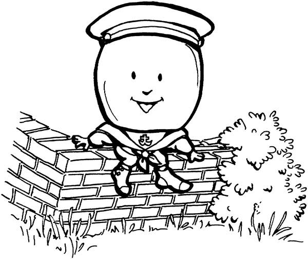 Humpty Dumpty, : Humpty Dumpty Sat on a Wall Coloring Pages