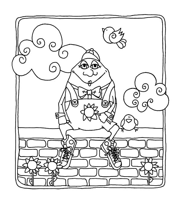 Humpty Dumpty, : Humpty Dumpty Sat on a Wall with Clouds and Bird Coloring Pages