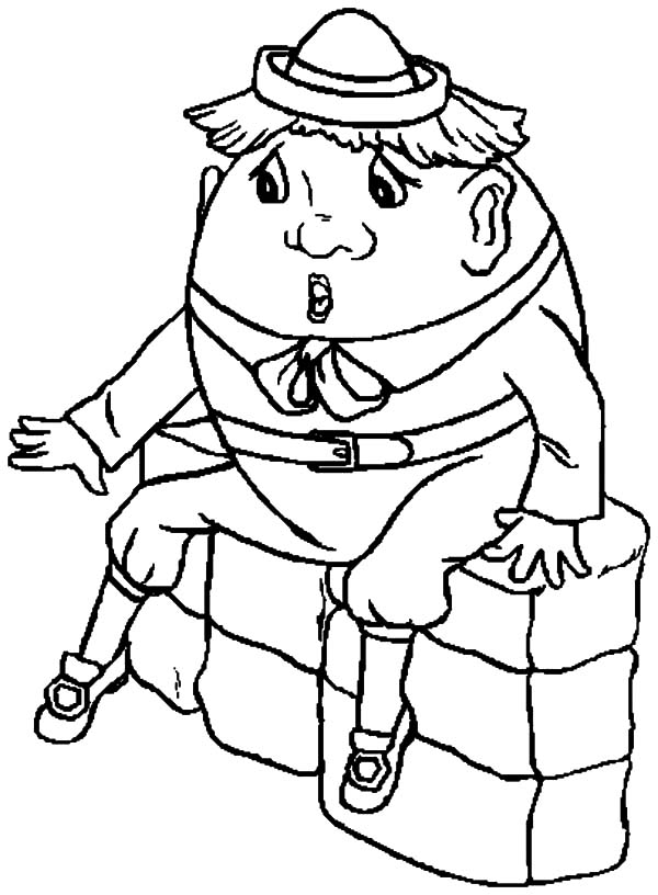 Humpty Dumpty, : Humpty Dumpty Wearing Round Hat Coloring Pages