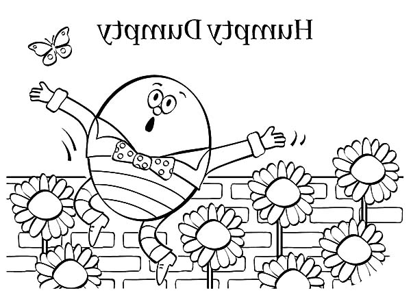 Humpty Dumpty, : Humpty Dumpty and Butterfly in Sunflowers Garden Coloring Pages