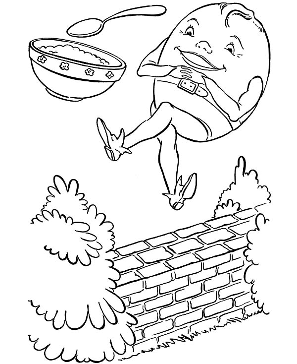 Humpty Dumpty, : Humpty Dumpty and a Bowl of Rice Coloring Pages