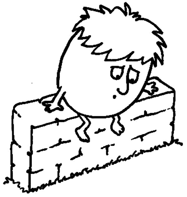 Humpty Dumpty, : Humpty Dumpty is Afraid of Falling Coloring Pages