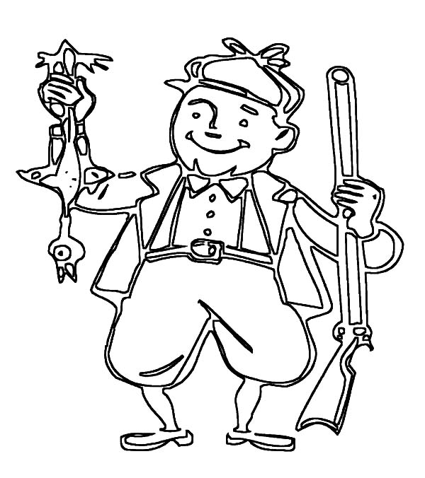 Hunting, : Hunter Back from Duck Hunting Coloring Pages