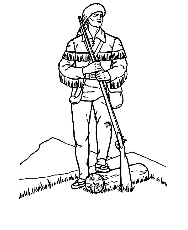 Hunting, : Hunter Watch the Situation at Hunting Coloring Pages