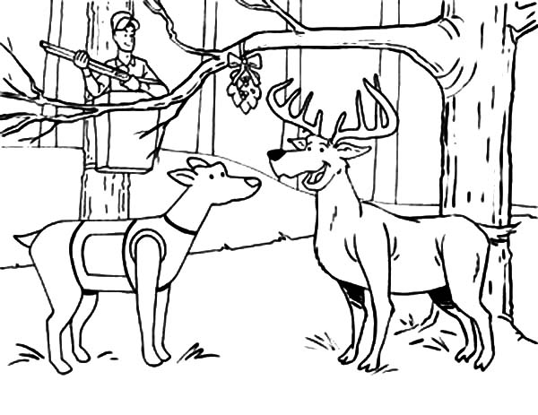 Hunting, : Hunting Deer and a Dog Under the Mistletoe Coloring Pages