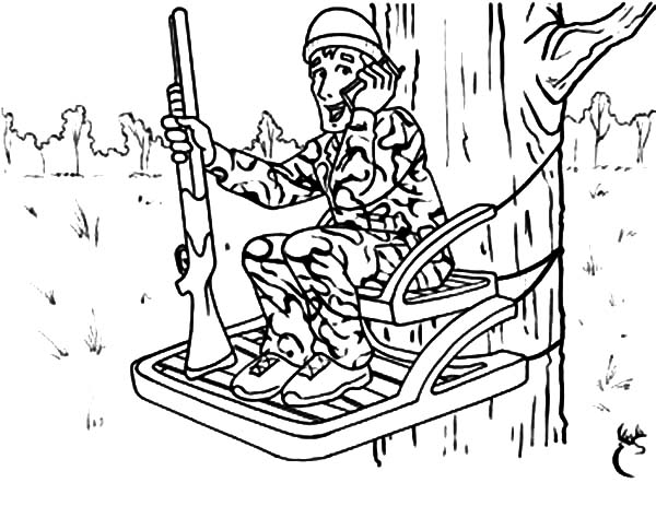 Hunting, : Hunting from Top of Tree Coloring Pages
