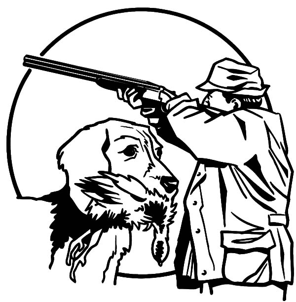 Hunting, : Hunting with Trained Dog Coloring Pages