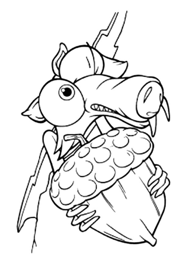 Ice Age Scrat And Acorn Coloring Pages Coloring Sky