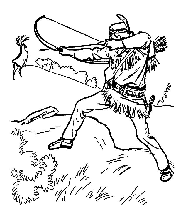 Hunting, : Indian Release His Arrow to Deer Hunting Coloring Pages