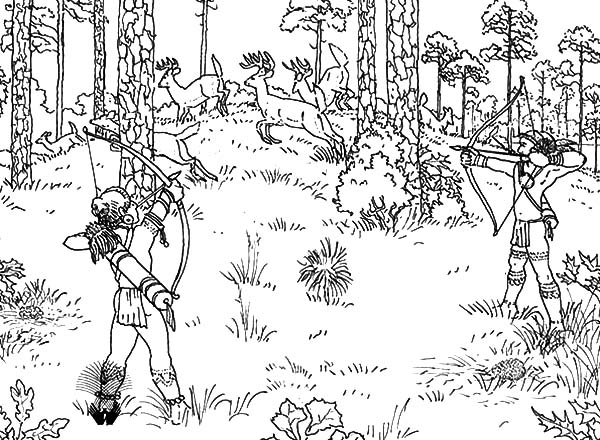Hunting, : Indian Tribe Deer Hunting for Food Coloring Pages