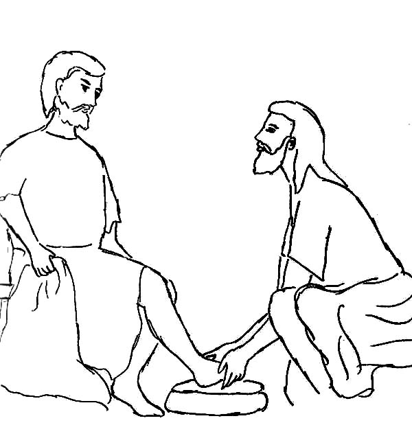 Washing Feet Coloring Pages Jesus washing the feet of the | Kids ... | 635x600