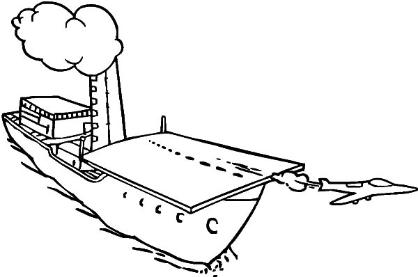 Coloring pages aircraft carrier ~ Jet Is Taking Off From Aircraft Carrier Coloring Pages ...