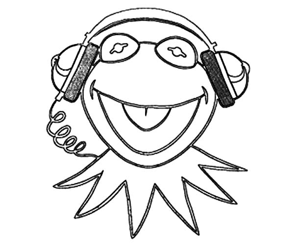 Kermit The Frog Listening Music Coloring Pages Coloring Sky