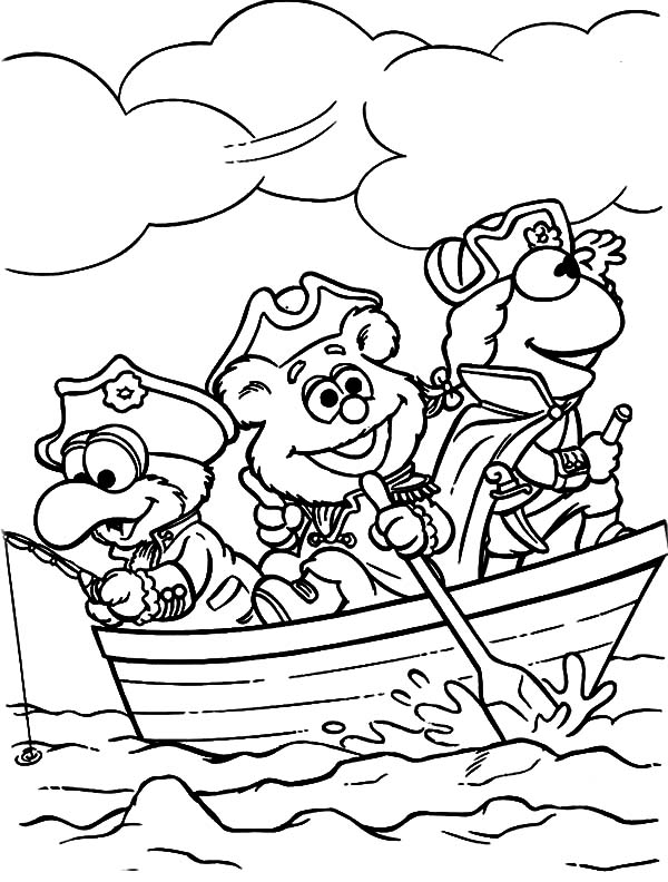 Kermit The Frog And Little Muppets Friends On Boat Coloring Pages