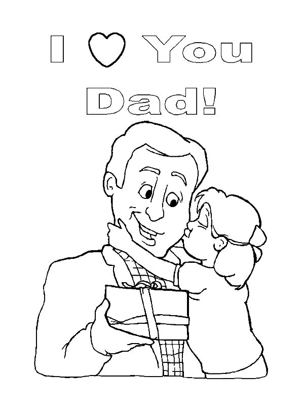 I Love Dad, : Kiss Daddy on Cheek I Love Dad Coloring Pages