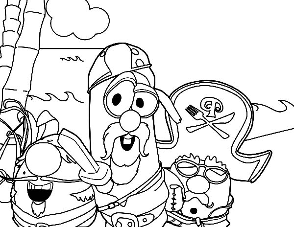 larry boy pirate with wooden sword coloring pages