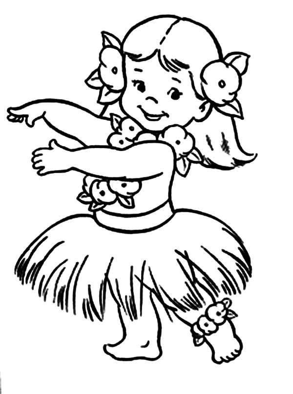 Hula Girl, : Little Chubby Hula Girl Coloring Pages