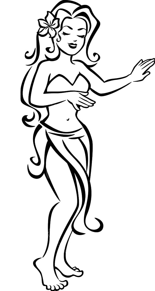 Hula Girl, : Lovely Hula Girl with Flower on Her Hair Coloring Pages