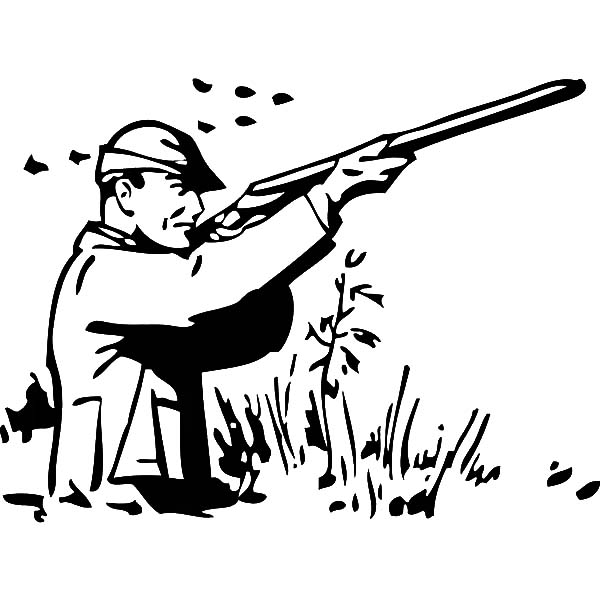 Hunting, : Man Hunting Fowl Coloring Pages