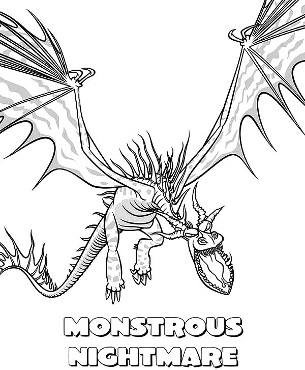 How To Train Your Dragon, : Monstrous Nightmare in How to Train Your Dragon Coloring Pages