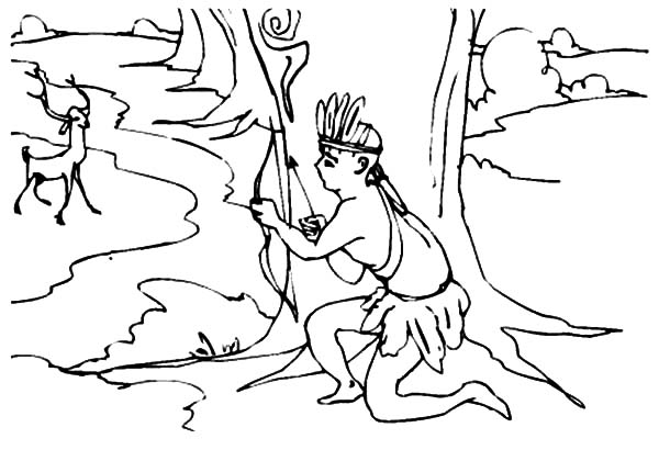 Hunting, : Native Hunting for the Deer Coloring Pages